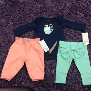 Cat & Jack Matching Sets - Cat and Jack Baby Girl Onesie/Pants Set Sz 0-3M